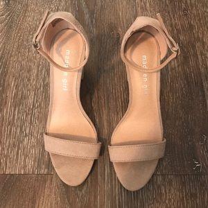 Tan suede open toe heels